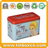 Poder de estaño grabada metal del té del rectángulo para el almacenaje del carrito de té