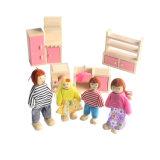Bambole di legno del Dollhouse per i capretti, una famiglia di 4 genti