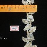 6cmの不規則な金および白いStreaky葉のトリミングのレースHme867