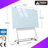 Placa branca de vidro magnética móvel com frame de aço