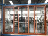 Wood Grain Color Surfaces Treatment Aluminum Window and Door with Double Glazed