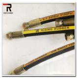 Slang Vier van de hoge druk de Spiraalvormige Flexibele RubberSlang die van de Draad Hydraulische Slang plooit