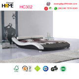 二重白い現代革ベッド(HC302)