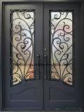 Puertas de doble entrada de hierro forjado con vidrio templado