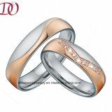 CZ Циркон свадьбы из нержавеющей стали полоса украшения кольцо