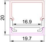 Perfil de aluminio del LED para el montaje superficial para la iluminación de tira del LED