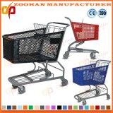 Grand chariot en plastique de chariot à achats de main de supermarché de Volumn (Zht94)