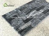Mode Ledgestone en marbre noir du grain du bois pour les longs revêtement mural