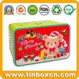 Прямоугольная металлическая подарочная упаковка Рождество Тин для поощрения Xmas