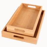 Bandeja con asas de bambú de la placa de Té de bambú rectangular bandeja de comida