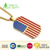 Venda por grosso de ferro metálico Personalizado China Estampado Imprimir EUA Tags Cão Militar bandeira do país