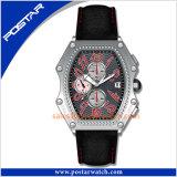 La montre de fantaisie de sport avec le pétrole a estampé la montre en cuir promotionnelle de cadran