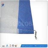 25kg 50kg saco de tecido PP branco com cordão ajustável