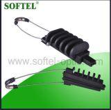 Braçadeira de tensão cuneiforme para o cabo distribuidor de corrente da fibra