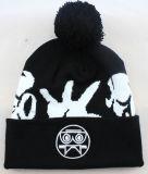3D Embriodery Black POM POM Beanies Custom Winter Hats