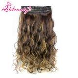 Grampo quente no grampo de cabelo sintético dos grampos da extensão cinco do cabelo