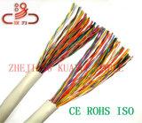 En el exterior el cable LAN cable UTP Cat5e de 25 pares de cable telefónico de 24 AWG