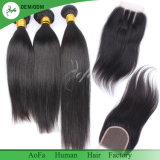 Muito o cabelo reto da alta qualidade remenda o cabelo brasileiro cru