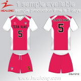 Healongは遊ばす販売のためのギヤデジタル印刷の衣類の学校の女の子のフットボールのユニフォームをぽんと鳴る