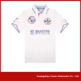 Camisa de polo grossa do espaço em branco do Mens do algodão branco de Customzied (P27)