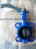 Válvula de borboleta Ductile resistente da bolacha do ferro com punho de alumínio