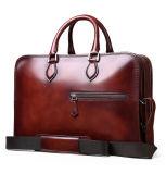 Serviette de sac en cuir de cru de tirette de double de grande capacité pour des affaires