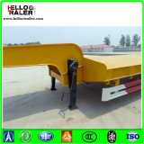 De China de la fábrica 50ton 3 del árbol de Lowbed acoplado semi con la escala para la venta