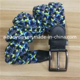 薄いファブリックストリップのニットベルト、深いカラー編みこみのベルト