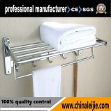 Badezimmer-und Dusche-Kleidung-an der Wand befestigter Edelstahl-Tuch-Zahnstangen-Halter mit Regal (LJ501D)
