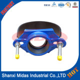 ステンレス鋼ベルトが付いている延性がある鉄の叩くサドルはPVC管、PEの管、AC管、鋼管および延性がある鉄の管のために設計されている
