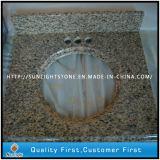 Parti superiori/controsoffitti più poco costosi di vanità del granito di colore giallo della pelle della tigre per la stanza da bagno