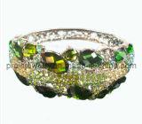 La primavera de la moda pulsera chapada en plata cristal verde exótico estilo (PB-076)