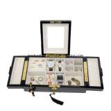 Hölzerner Uhr-Manschettenknopf-Schmucksache-Geschenk-Kasten mit Verschluss und Schlüssel