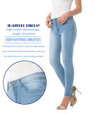Calças de brim magros da sarja de Nimes elevada clássica popular da cintura das mulheres