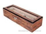 Caixa de presente de madeira da embalagem da coleção de relógio do revestimento elevado do lustro