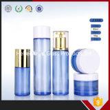 Crème de fantaisie en pots de verre des bouteilles en verre bleu pour les produits cosmétiques à l'emballage
