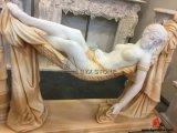 Natürliche schnitzende Marmordame Sculpture Statue für Dekoration
