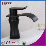 Fyeer Round Brass Body Oblate Spout Black Waterfall Basin Faucet