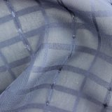 Tissu rayé de mousseline de soie de jacquard de filé métallique bleu