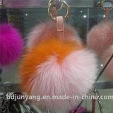 Anelli chiave del Pompom della pelliccia di Fox della decorazione di natale della sfera della pelliccia dell'Asia