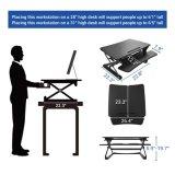 "Loctek 27 "" 넓은 플래트홈 고도 조정가능한 서 있는 책상 라이저는, 앉 서 있다 워크 스테이션, 검정 (MT101S)를"