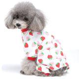 Vêtements 100% adorables d'animal familier de chemise de pyjamas de crabot de fraise de coton