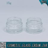 tarro de cristal cosmético de 15ml el 1/2 onza para la crema de cara con la tapa de aluminio
