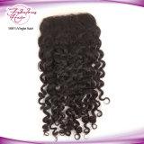 """El cabello de la fábrica de encaje peruano basado 4"""" X 4"""" piezas de cierre de los encajes de curly top"""
