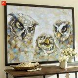 Baumwollsegeltuch-Wand-Abbildung das Eulen-Familien-Ölgemälde