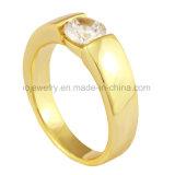 Acero inoxidable 18k oro plateado anillo de diamantes de joyería de fundición