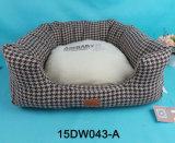 Design Soft Dog Cushion Grid Square Camadas de algodão flocadas de algodão