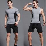 Pantalon court de survêtement de sport de chemise de compactage de la mode des hommes