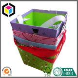 Satén de la manija de flores regalo de papel Caja de cartón Cubo
