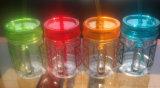 Plástico de doble pared Mason Jar secadora con paja y manejar